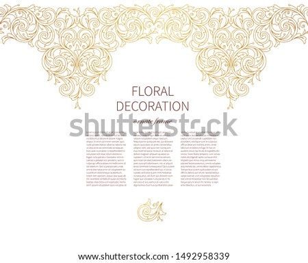 Floral gold seamless border, frame, vignettes. Arabic and Eastern motifs. Ornamental illustration, flower garland. Isolated line art ornaments.Golden ornament with leaves, curls for invitations, card