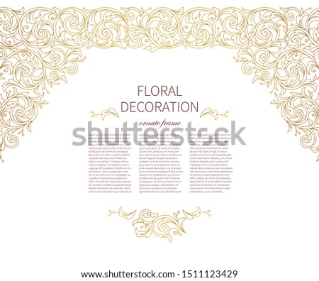 Floral gold seamless border, frame, vignettes. Arabic and Eastern motifs. Ornamental illustration, flower garland. Isolated line art ornaments. Golden ornament with leaves, curls for invitation, card.