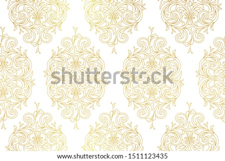 Floral gold seamless pattern. Arabic and Eastern motifs. Ornamental illustration, flower garland. Golden line art ornaments for wallpaper. Traditional ornament, tracery on light background.