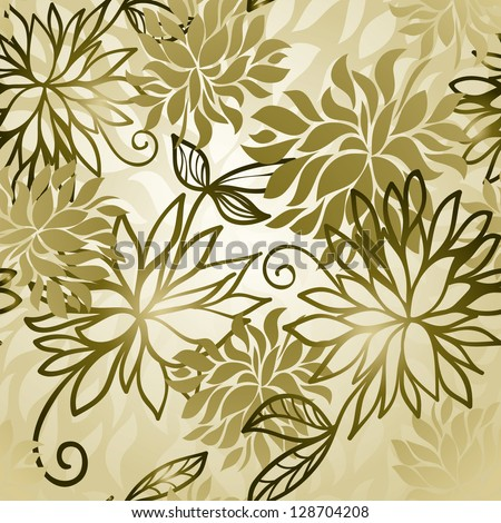Floral golden modern wallpaper