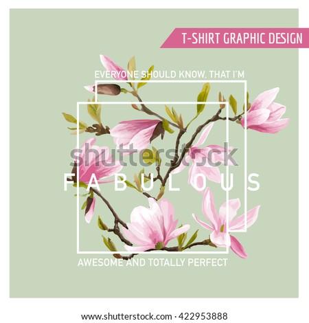 floral graphic design magnolia