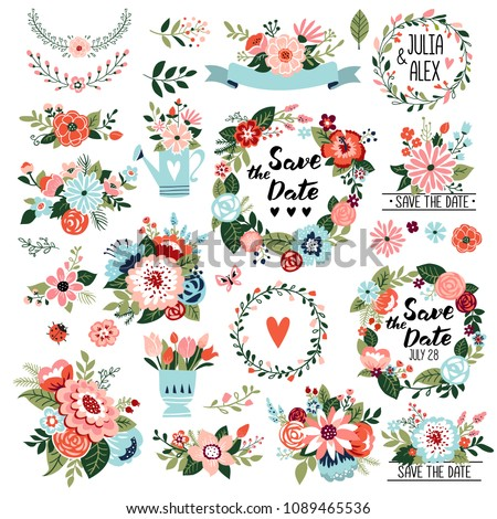 Floral graphic set, wreaths, ornate motives, branches, Save the Date and Wedding collection with typographic design elements. Hand drawn style, vector illustration