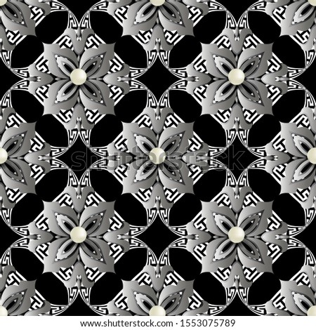 Floral greek style 3d vector seamless pattern. Jewelry ornamental elegant background. Surface flowers, leaves, gemstones, white 3d pearls, geometric shapes. Greek key meanders elegance ornaments.
