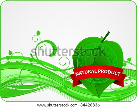 floral green card with leaf and banner #84428836