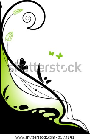 Floral green design element