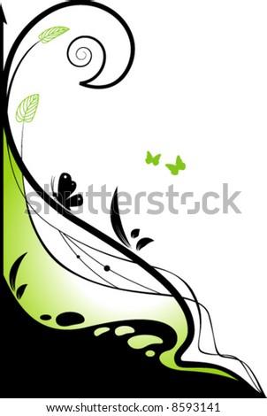 Floral green design element