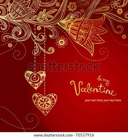 Floral greeting card  for Valenyine's day