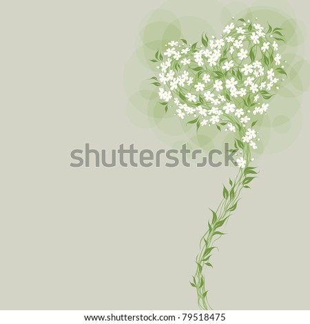 Floral greeting card with heart shaped bouquet. Little white flowers.