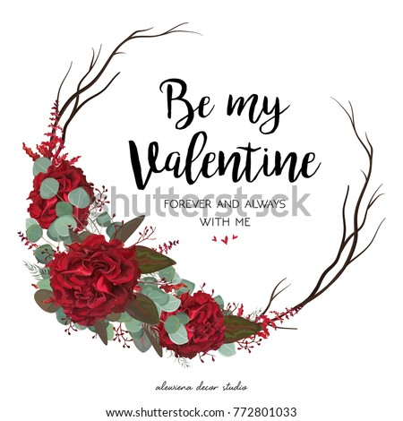 Floral wreath background download free vector art stock graphics floral greeting valentine card design garden red burgundy rose flower eucalyptus greenery foliage berries and m4hsunfo