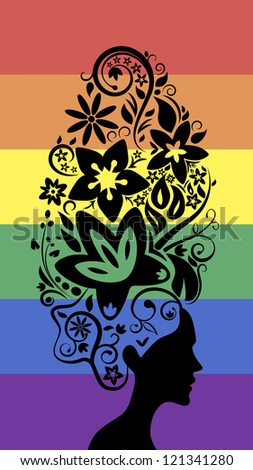 Floral hairstyle. Rainbow background.