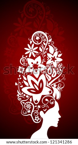 Floral hairstyle. Red Gradient background