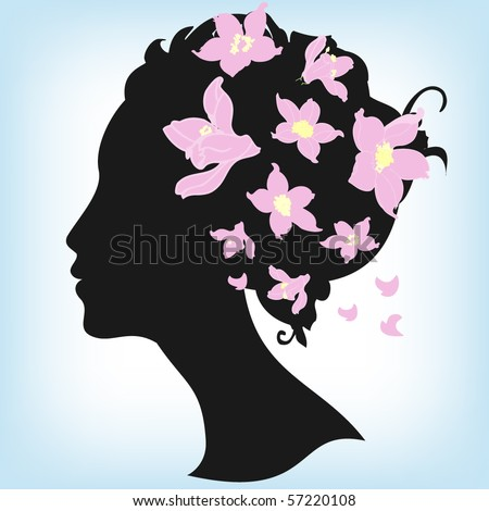 stock vector : Floral hairstyle, woman face silhouette