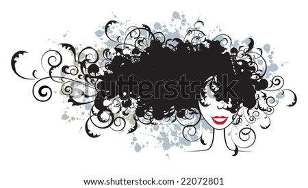 stock vector : Floral hairstyle, woman face silhouette for your design