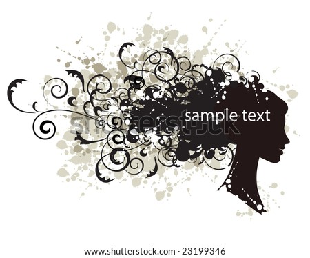 Floral hairstyle, woman face silhouette for your design - stock vector
