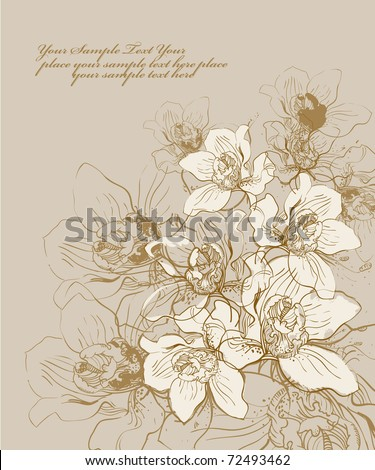 floral hand drawn background with blooming orchids