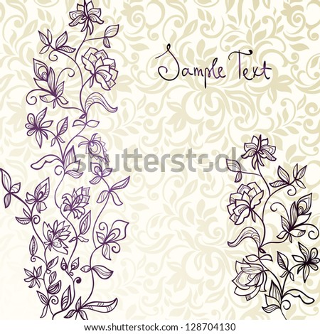 Floral hand-drawn card on seamless background