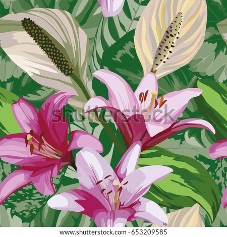 Floral hand drawn composition of beautiful flowers of lily. Seamless wallpaper pattern green begonia leaves background