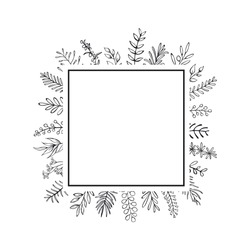 floral hand drawn farmhouse style outlined twigs branches square frame black and white  background