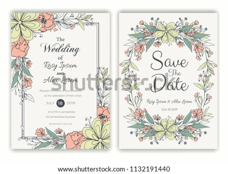 Floral hand drawn frame for a wedding invitation #1132191440