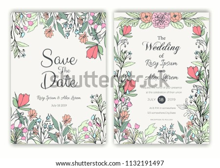 Floral hand drawn frame for a wedding invitation #1132191497