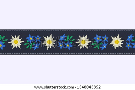 Floral hand drawn seamless pattern border with edelweiss. Decorative ribbon isolated. Vector symbol of Alps Mountain alpine flower cartoon. Oktoberfest event design element. Background illustration
