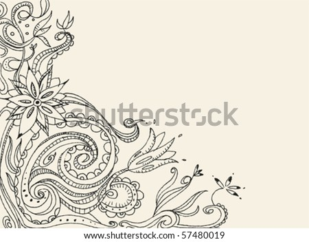 Floral hand drawn vector card