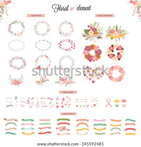 floral hand drawn vector set