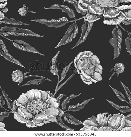 floral hand drawn vintage...