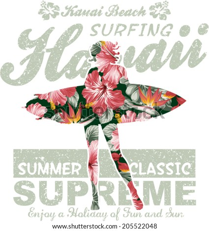 floral hawaii surfing  vector