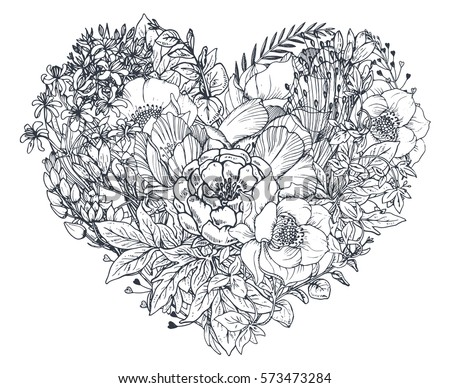 floral heart bouquet