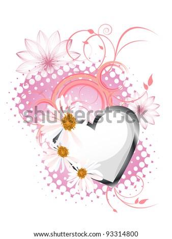 floral heart design - vector