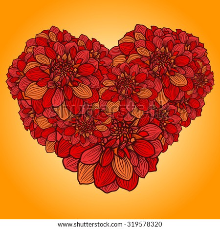 floral heart made with hand