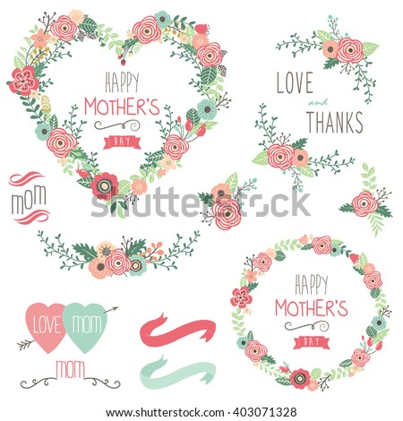 Floral Heart Mother's Day Elements
