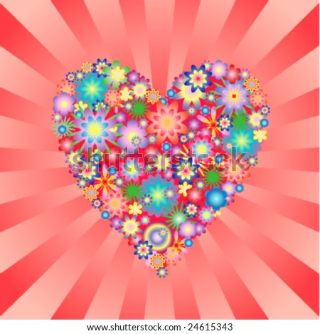 Floral heart on burst background