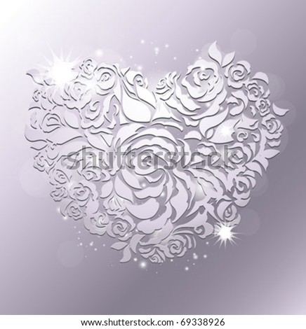 Floral heart on silver background - stock vector