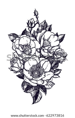 Beautiful Monochrome Black And White Bouquet Rose Isolated On