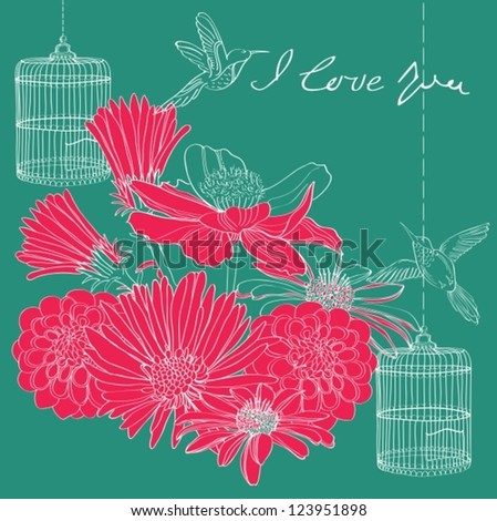 Floral holiday Valentine card for design, vector