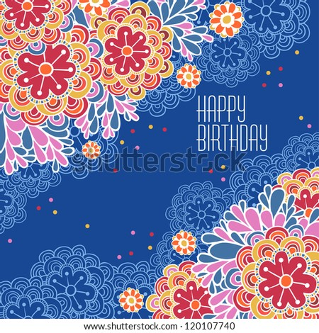 Floral holiday vector background. Postcards Birthday.