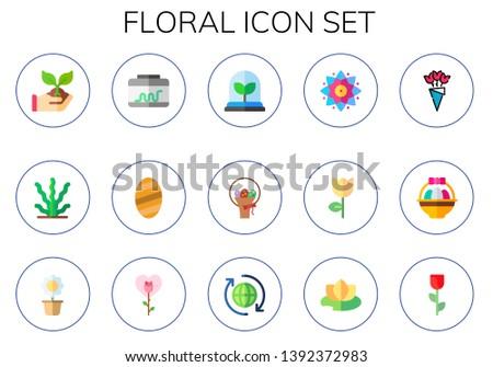 floral icon set 15 flat floral