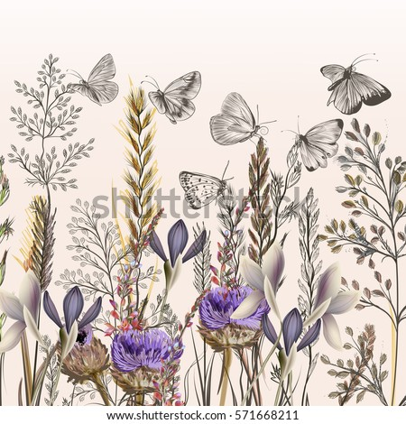 Floral illustration with field flowers and butterflies in vintage style