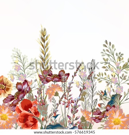 Floral illustration with field flowers  in vintage style