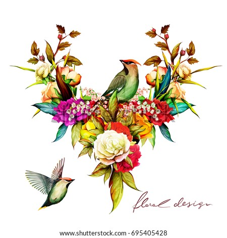 floral illustration with two