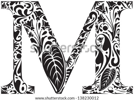 Capital Letter M Floral initial capital letter