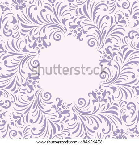 floral invitation card on white