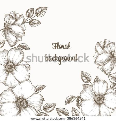 floral invitation frame hand