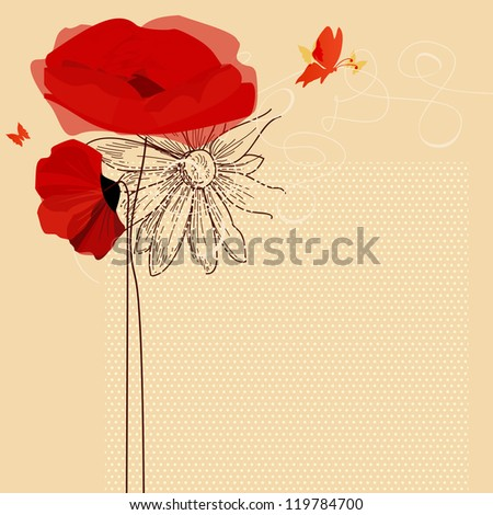 Floral invitation, poppies and butterflies vector