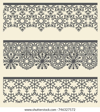 Floral lacy seamless border. Christmas Snow line pattern set. Tribal ethnic arabic, indian, turkish fashion ornamental decor. Headline, banner, card design elements