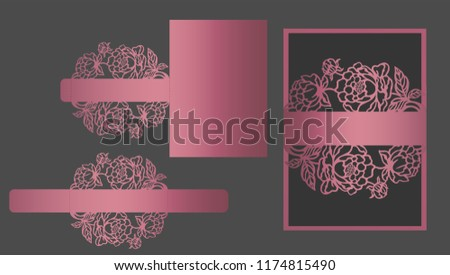 Floral laser cut belly band template for wedding invitations. Ornamental lace border. Card wrap.