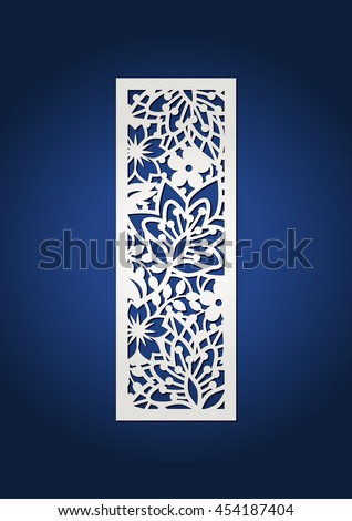Floral laser cut monogram initial letter i with spring pattern. Cutout botanical pattern alphabet. Decorative laser cut panel with flower botanical ornament. For cutting machines. Filigree bookmark.