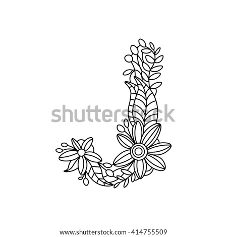 Floral Letter Coloring Book For Adults Vector Illustration 414755509